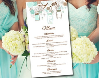 "DIY Wedding Menu Template | Instant Download Printable Menu ""Mason Jar"" Sea Foam Mint Menu Template - Printable Wedding Menu Card Template"