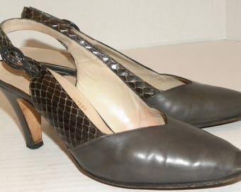 Vintage Salvatore FERRAGAMO Sling Back Heels / Gray Leather Snakeskin Heels 1980s / Vintage size 6 B
