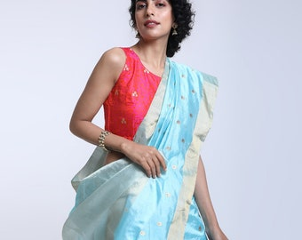 Blue pure silk chanderi saree with delicate floral motifs with meenakari