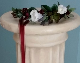 Succulent Flower Crown burgundy Bridal halo green ivory party silk floral vineyard garland marsala accessories flower girl wine hair wreath