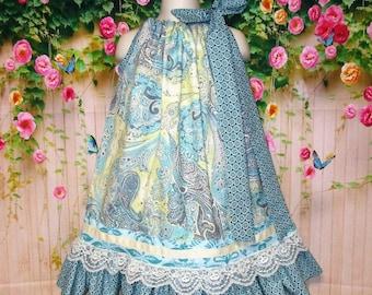 Girls Dress 4T/5 Sea Foam Green Cream Paisley Design Pillowcase Dress, Pillow Case Dress, Sundress, Boutique Dress