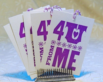 4U Purple Letterpress Gift Tag