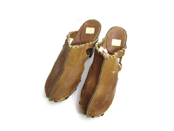 leather 70s BISON heel shoes boho platform BUFFALO shoes chunky clogs woodstock 60s bohemian clogs high festival clogs hippie RARE clogs 70s 5U4UqwdxY