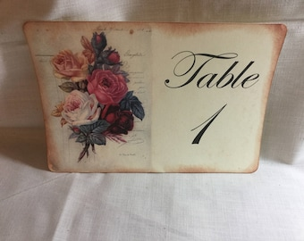 Vintage Style Rose Floral and French Script Luxury Table Numbers/Names Wedding Original Design