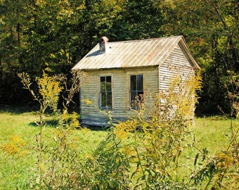 Goldenrod Glen is a photographic art print of an abandoned building in early autumn