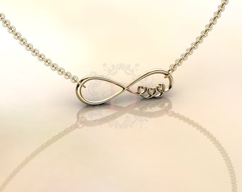 Infinite Love Necklace 14K Yellow Gold, Unique gift
