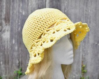 Yellow sunhat, crochet sunhat, ladies summer hat, floppy hat, cotton sunhat, womens sunhat, handmade sunhat, wide brim, sunny yellow