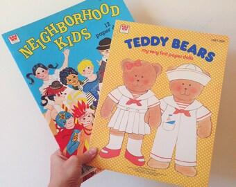 Vintage 1978/1980 Whitman Teddy Bears/Neighborhood Kids Paper Dolls (Set of 2)