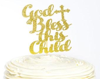 God Bless Cake Topper, Baptism Cake Topper, Christening Cake Topper, Blessing Day Cake Topper, Communion Day Cake Topper, Confirmation Cake