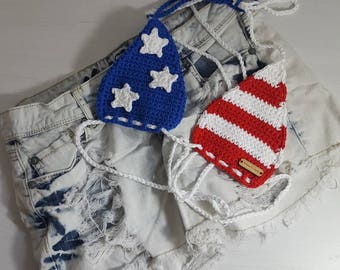 Crochet American Flag Bikini Top, Festival Top