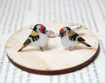 Goldfinch cuff links. Bird Cuff links. Hand drawn cuff links. Mens accessories