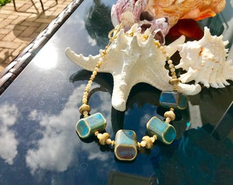 Ceramic and Mother of Pearl Necklace