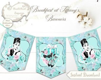 Audrey Hepburn Banner, Breakfast at Tiffany's Bunting, Breakfast at Tiffany's Bridal Shower, Shower Decorations