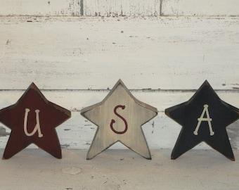 Americana USA Star Shelf Sitters - Patriotic Decor - Home Decor-July 4th - Handmade - Primitive Americana Stars