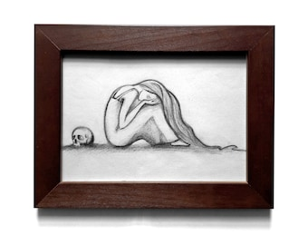 "Original Pencil Drawing ""Crying"" FREE SHIPPING!"