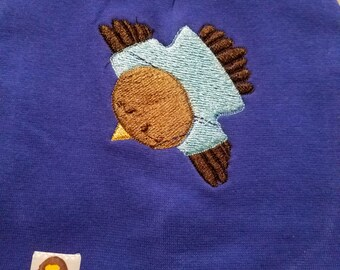 Embroidered flying owl on baby/infant beanie