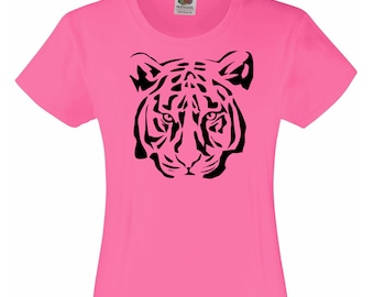 Girls Pink T-Shirt with Tiger Design / Kids Tiger T-Shirt / Tiger's Face / Head Pink Tee Also Red Blue & Yellow Age 3-4 5-6 7-8 9-11 12-13