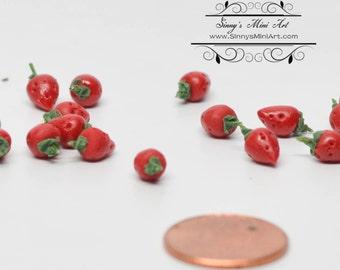 1:12 Dollhouse Miniature Strawberries Set of 12 Pieces/ Miniature Fruit BD P010