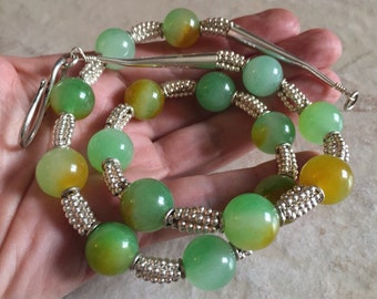 Jade And Silver Necklace