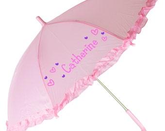 Girls Personalized Umbrella Hand Painted Parasol Custom Pink White Lavender childrens Umbrellas ruffles flower girl parasols rain UMBR