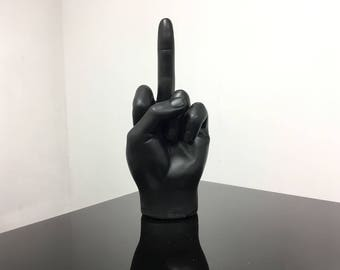 Interior Illusions Plus Black Middle Finger, Hand, Realistic, Art - Tabletop Home & Living + Display Accessory, Decoration, Ornament.