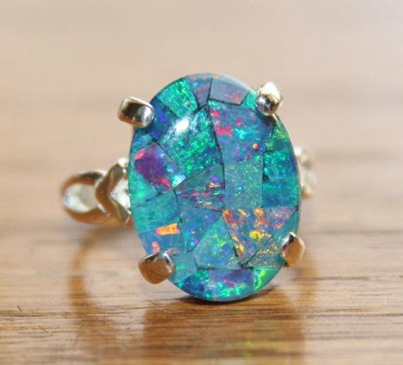 Genuine australian opal ringmosaic opal ringsterling genuine australian opal ringmosaic opal ringsterling silveropal jewelrybirthstonegift for herblue opalgemstone ringooak aloadofball Image collections