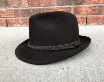 Dark Brown Fur Felt Fedora, Robert Hall, Made in USA, size 7 (56)