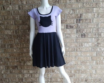 Purple Kitty  Dress with Pockets / Purple Cat Dress / Purple Kitty Dress / Kitty Pinup Dress