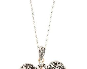 Etched heart pendant long necklace