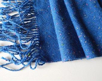 Handwoven wool scarf, tweed scarf, handwoven wrap, women scarf, blue scarf, winter scarf, wool scarf, woven wrap