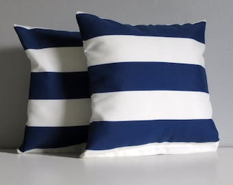 Navy Striped Pillow Covers, Nautical Stripe Throw Pillow Covers- 12x12 Decorative Pillows Set of 2 indoor Outdoor Pillows