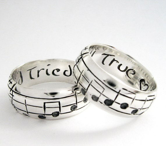custom music note wedding bands original real music notes ring sterling music ring sheet music nerd wedding rings geekery personalize - Nerd Wedding Rings