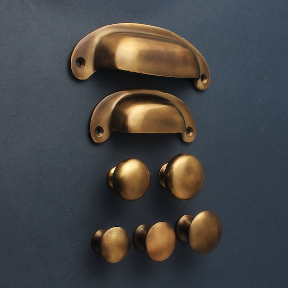 Like this item? - Aged Brass Kitchen Handles Drawer Cup Pulls & Knobs Antique