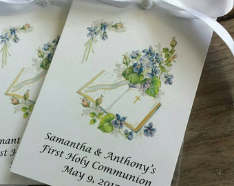 Baptism Christening First Holy Communion Flower Seeds Packets Party Favors Bible Flowers Church Blessing