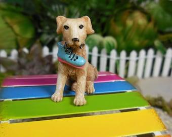Miniature Fairy Dog with Stolen Blue Boot ~ Light Beige Mini Puppy Fairy Garden Figurine ~  Little Animals for Terrariums & Garden Decor