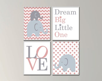Baby Girl Nursery Art Print Set. Dream Big Little One. Family Of Elephants. Suits Dusty Pink and Grey Nursery Decor. H1024