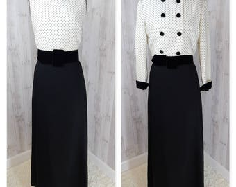 1960s EMMA DOMB Vintage 2PC DRESS~Maxi Black & White Full Length Gown w/Belt~Swiss Polka Dots~Size Small~Excellent Condition!