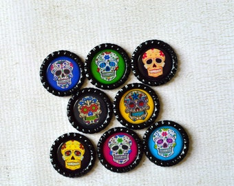 Sugar Skull Bottlecap Magnets- 8 Strong Day of the Dead Magnets- Colorful Dia de los Muertos Magnets- Day of the Dead Decor- Kitchen Decor