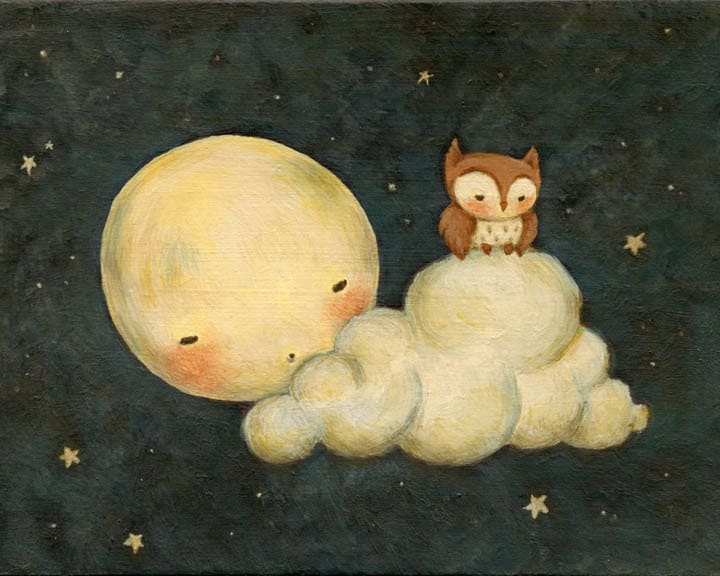 Art for Kids Owl Say Goodnight Print 14x11 Wall Art for