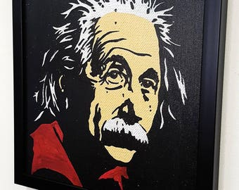 Albert Einstein  RETRO- Giclee Wall Art mixed media on canvas - Theory of relativity inspired framed  paint -poster Painting -artwork-gift