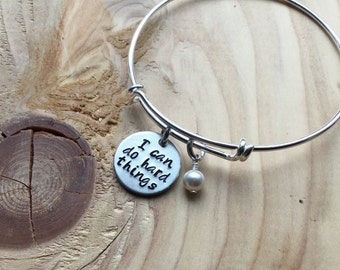 """Inspiration Bracelet- Hand-Stamped """"I can do hard things""""- Bracelet with an accent bead in your choice of colors"""