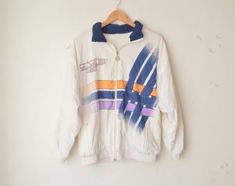white colorful sporty windbreaker nylon jacket coat 90s // M