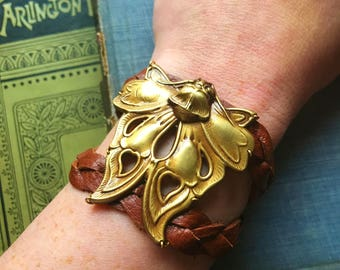 Death's Head Moth Brass and Leather Bracelet, braided comfortable bracelet with snap closure