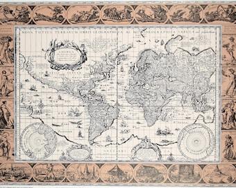 Vintage world map poster etsy vintage 1980s graphic arts show poster world map nova totius terrarum orbus gumiabroncs Gallery