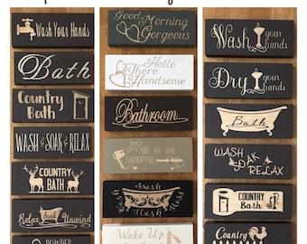 Bathroom Signs, Bathroom Decor, Wooden Signs, Powder Room Sign, Mini Wood  Signs