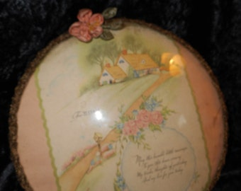 Mother Plaque under Domed Glass with gold bullion metallic trim and Ribbon Work accent Antique (FFs5181)
