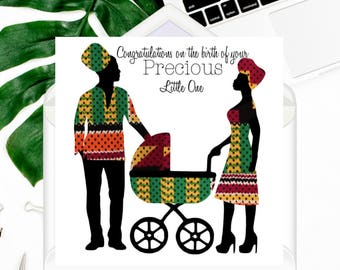 """African fabric card/New baby card/New parents (6"""" square) - New love"""