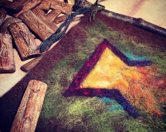 Rune Banner of Perthro // Wool Felt, Silk, Alder wood, Citrine, Black Tourmaline, Iolite, Copper, Glass