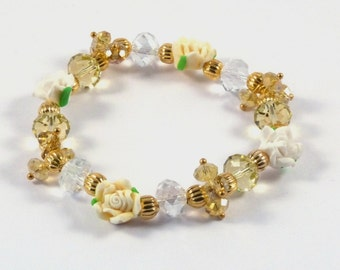 Beautiful Fimo Clay Flower and Crystal Rondelle Stretch Bracelet in Shades of Lemon and White