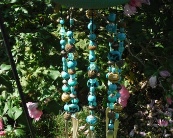 Turquoise WIth Golden Butterflies Cast Iron Teapot Silverplate Chimes Over 300 beads